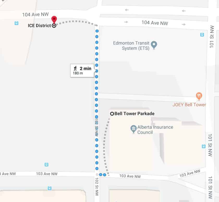 Bell Tower to Rogers Place Google Maps Edmonton Parking Guide