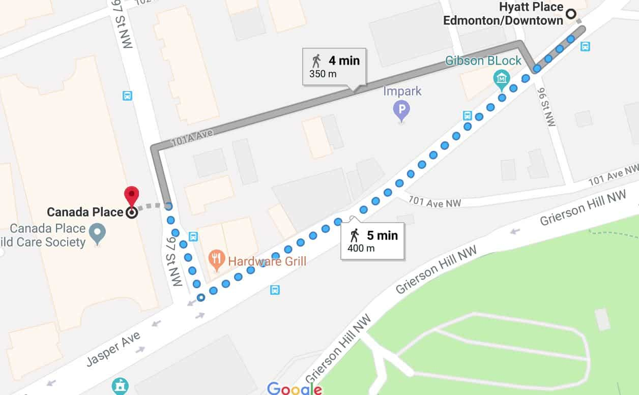 Hyatt Place Parkade to Canada Place Map Edmonton Parking Guide