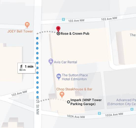 MNP Tower to Rose and Crown Pub Edmonton Parking Guide