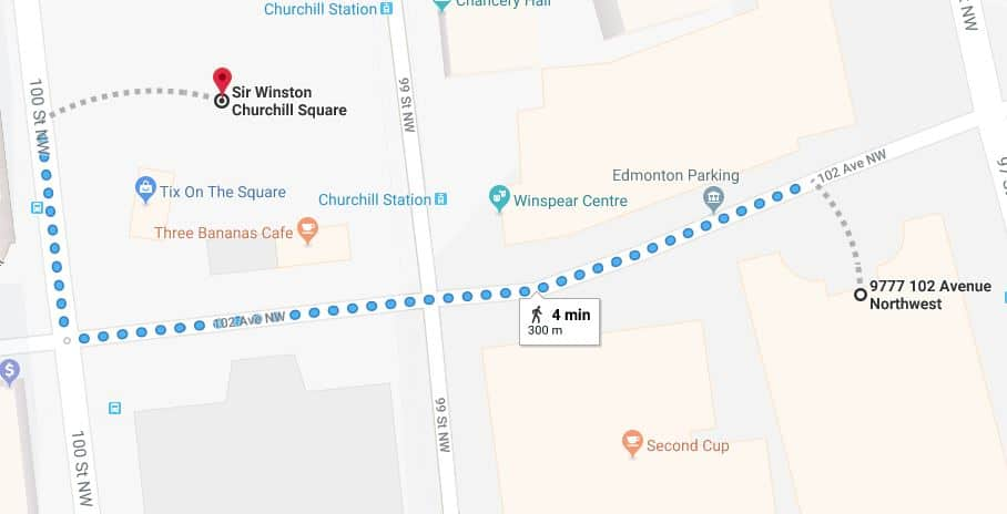Canada Place Parkade to Churchill Square Map Edmonton Parking Guide