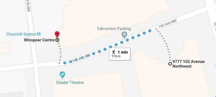 Canada Place Parkade to Winspear Centre Map Edmonton Parking Guide