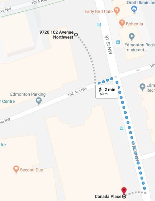 Winspear Centre to Canada Place Map Edmonton Parking Guide