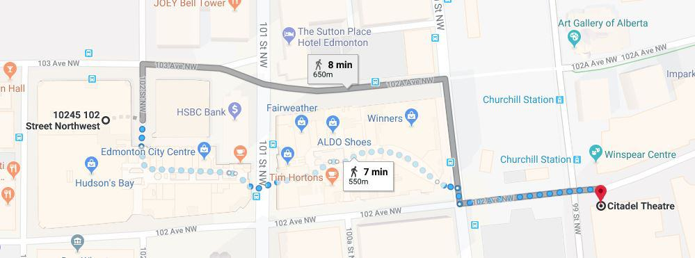 102 Street Parkade to Citadel Theatre Map Edmonton Parking Guide