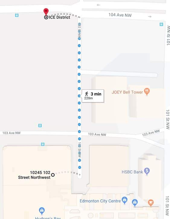 102 Street Parkade to Rogers Place Map Edmonton Parking Guide