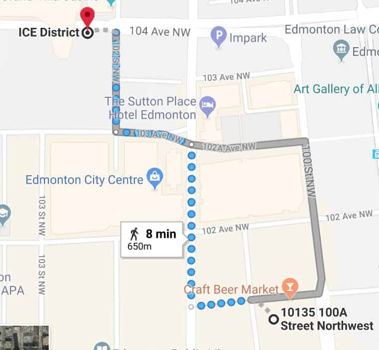 Rice Howard Parkade to Rogers Place Map Edmonton Parking Guide