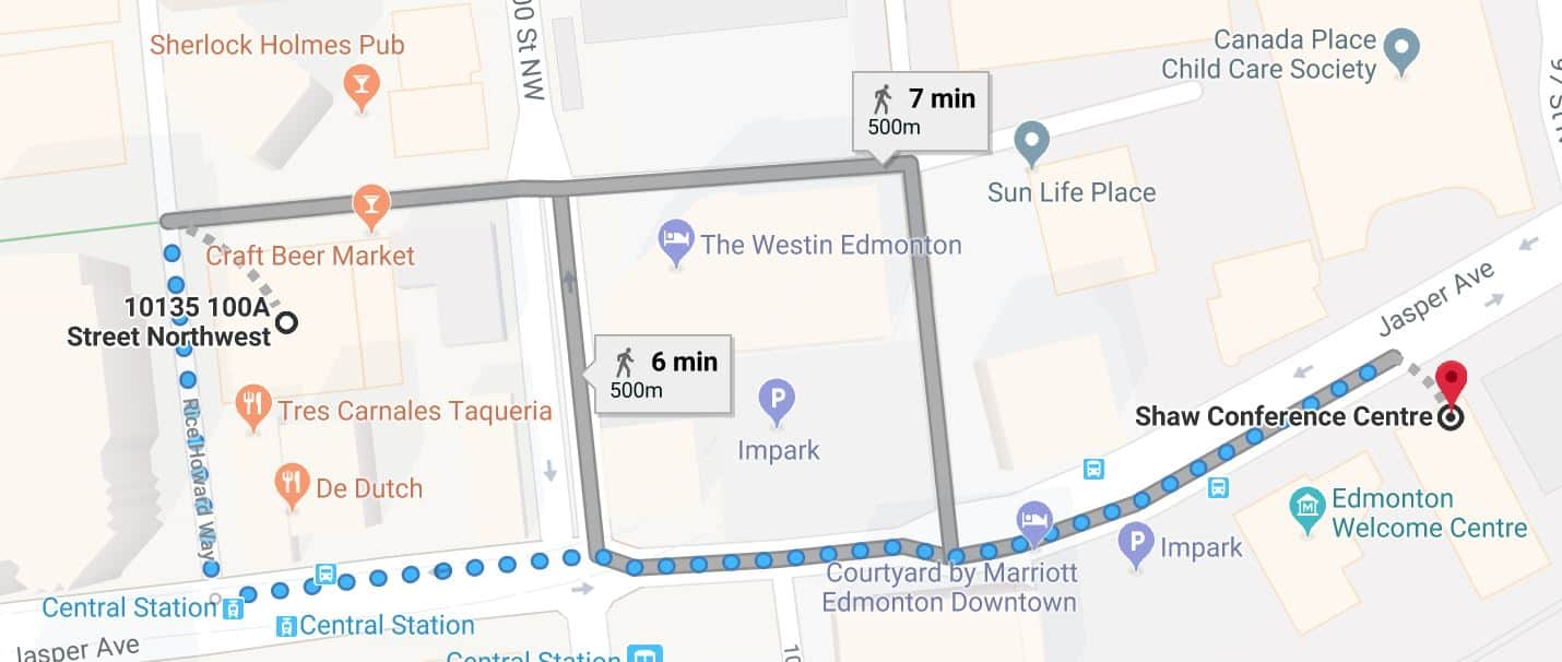 Rice Howard Parkade to Shaw Conference Centre Map Edmonton Parking Guide