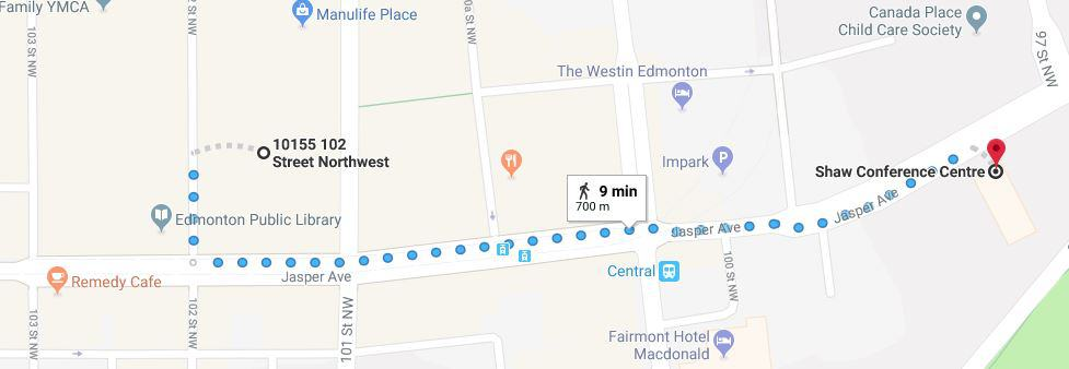 Commerce Place Parkade to Shaw Conference Centre Map Edmonton Parking Guide