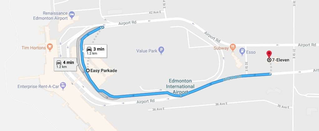 Easy Parkade to 7-Eleven Map Edmonton Parking Guide