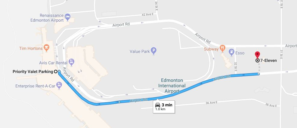 Priority Valet to 7-Eleven Map Edmonton Parking Guide