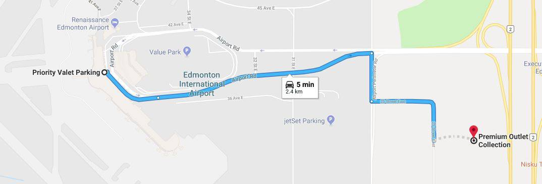 Priority Valet to Premium Outlet Collection Map Edmonton Parking Guide