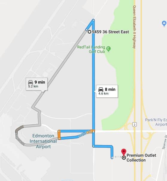 QuickPark North to Premium Outlet Collection Map Edmonton Parking Guide