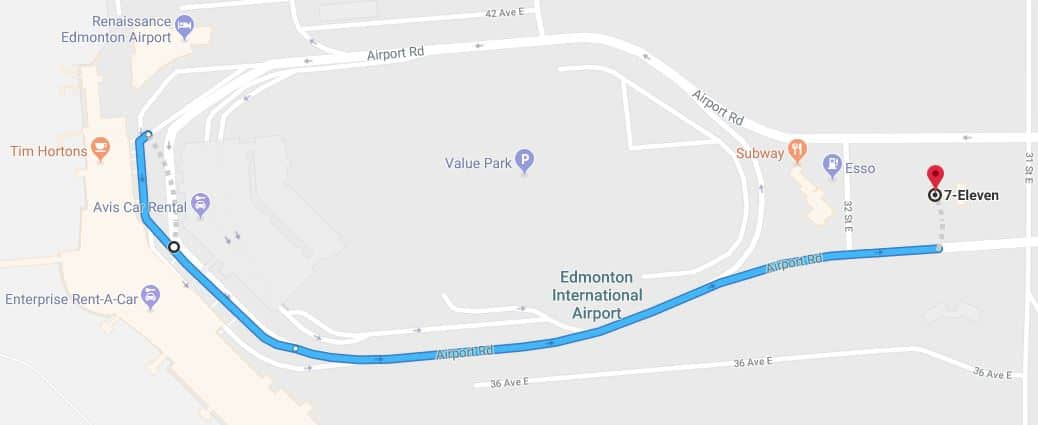 Rendez-Vous Meeting Point to 7-Eleven Map Edmonton Parking Guide
