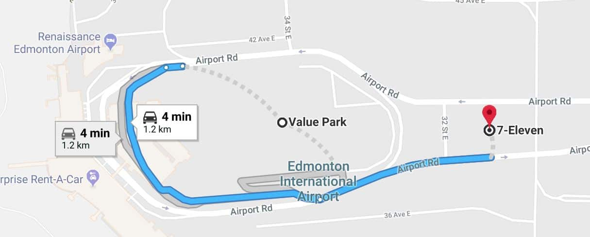 Value Park to 7-Eleven Map Edmonton Parking Guide