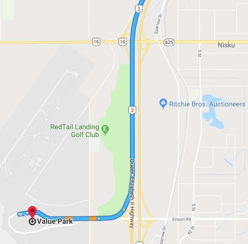 Value Park to Edmonton Airport Map 1 Edmonton Parking Guide