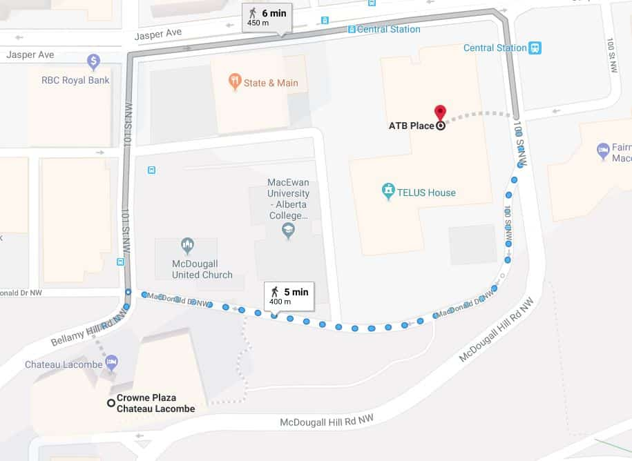 Chateau Lacombe Hotel to ATB Place Edmonton Parking Guide