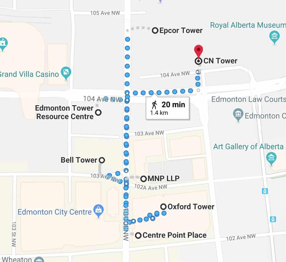 Epcor Tower Parkade to Office Towers Edmonton Parking Guide
