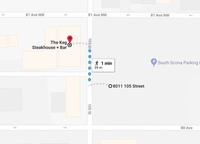 Old Strathcona Surface Parking Lot to Keg Steakhouse and Bar Map Edmonton Parking Guide