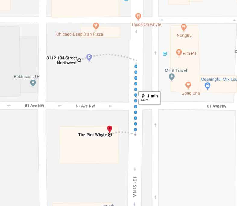 Army and Navy Surface Parking Lot to The Pint Whyte Edmonton Parking Guide