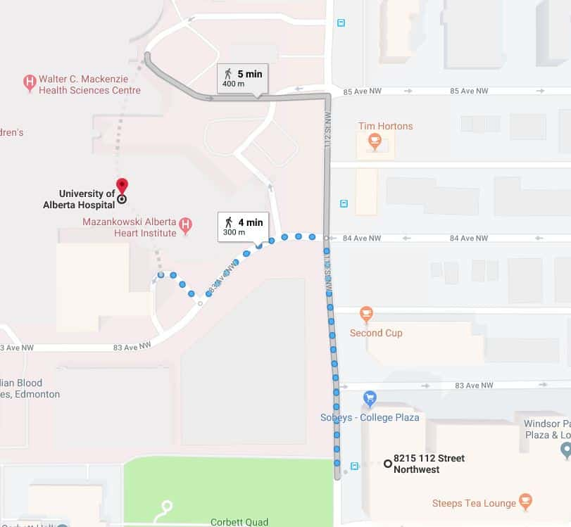 College Plaza Parkade to University of Alberta Hospital Edmonton Parking Guide