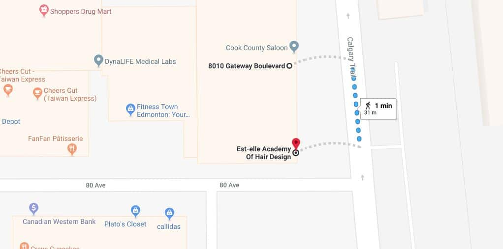 Cook County Saloon Surface Parking Lot to Est-elle Academy of Hair Design Edmonton Parking Guide