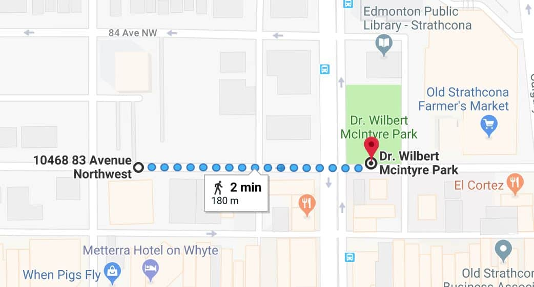 Old Strathcona Medical North Lot to Dr. Wilbert Mcintyre Park Edmonton Parking Guide