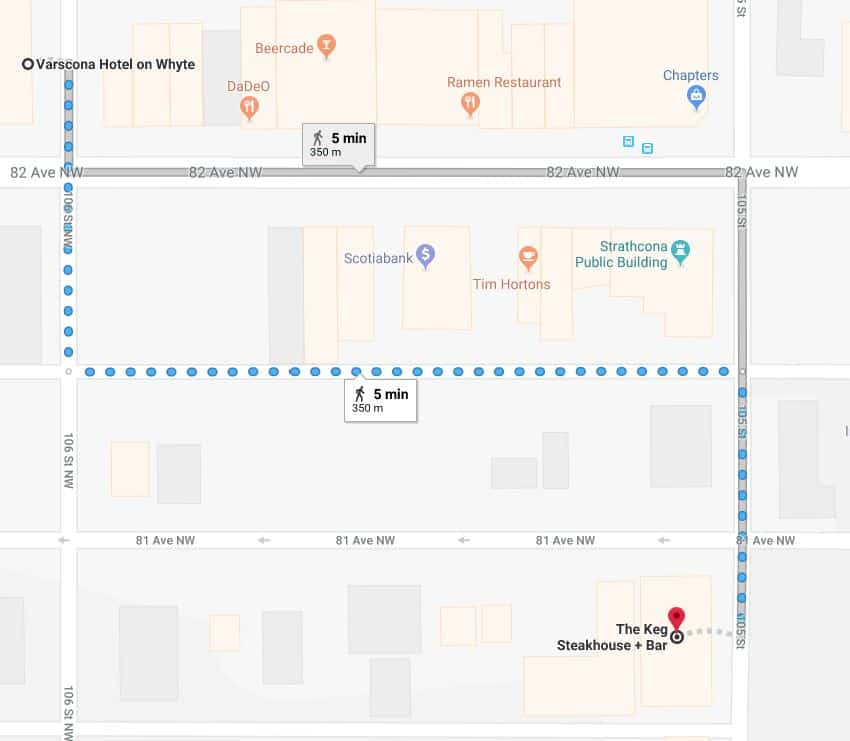 Varscona Hotel Parkade to Keg Steakhouse and Bar Edmonton Parking Guide