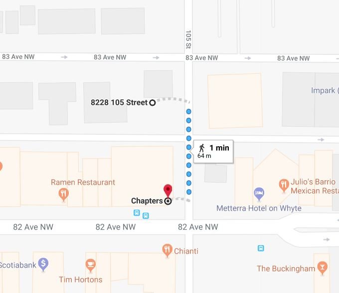 Whyte Avenue Chapters North Lot to Chapters Edmonton Parking Guide