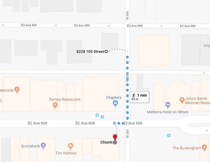 Whyte Avenue Chapters North Lot to Chianti Edmonton Parking Guide