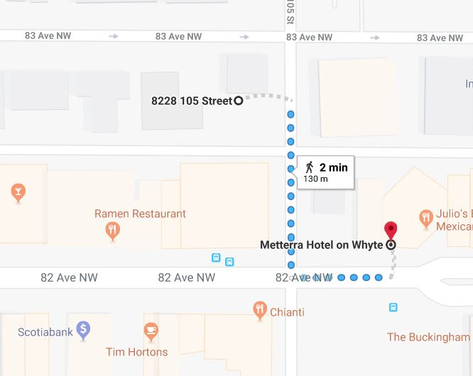Whyte Avenue Chapters North Lot to Metterra Hotel Edmonton Parking Guide