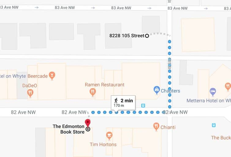 Whyte Avenue Chapters North Lot to The Edmonton Book Store Edmonton Parking Guide