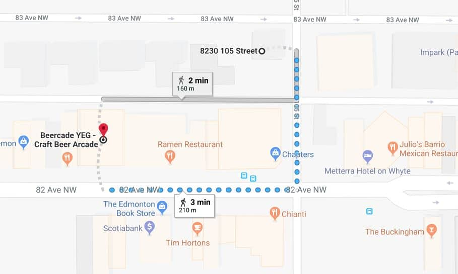 Whyte Avenue Chapters West to Beercade Yeg Edmonton Parking Guide