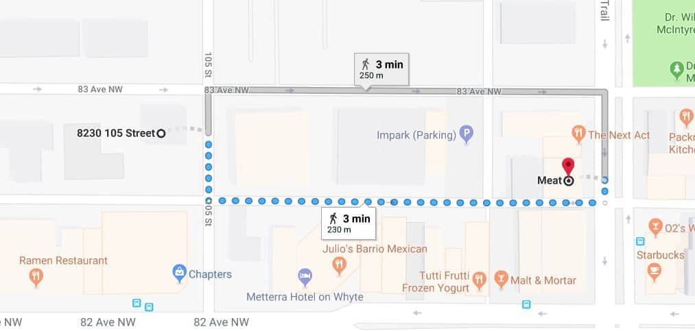 Whyte avenue Chapters West Lot to MEAT Edmonton Parking Guide