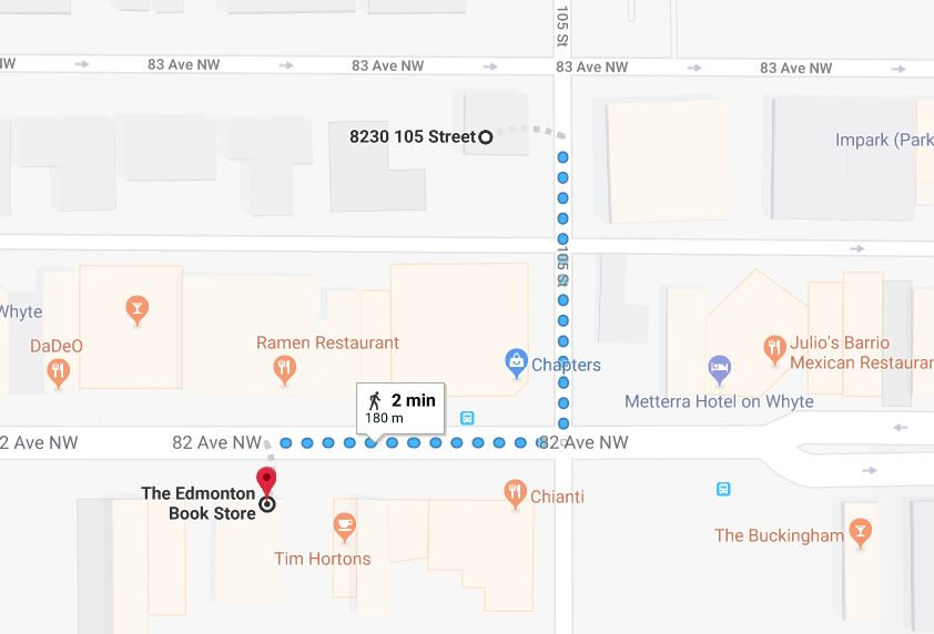 Whyte avenue Chapters West Lot to The Edmonton Book Store Edmonton Parking Guide