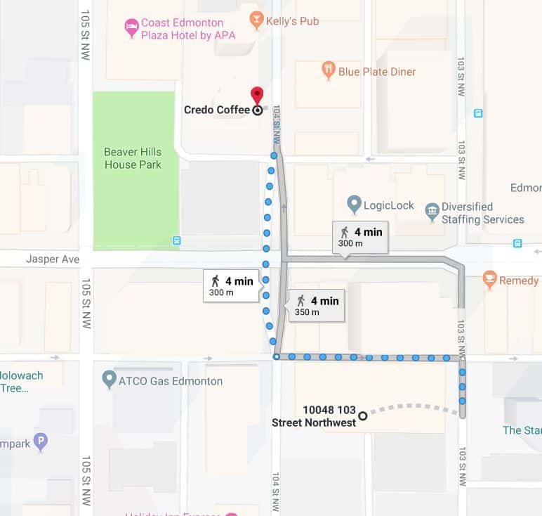 Canadian Western Bank Parkade to Credo Coffee Edmonton Parking Guide