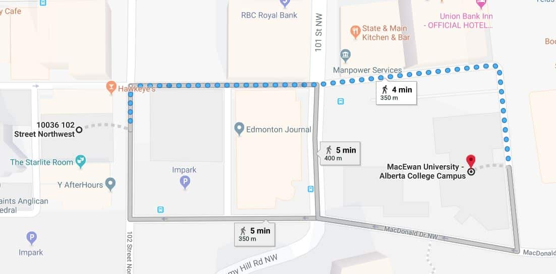 Central Car Park to MacEwan University Edmonton Parking Guide