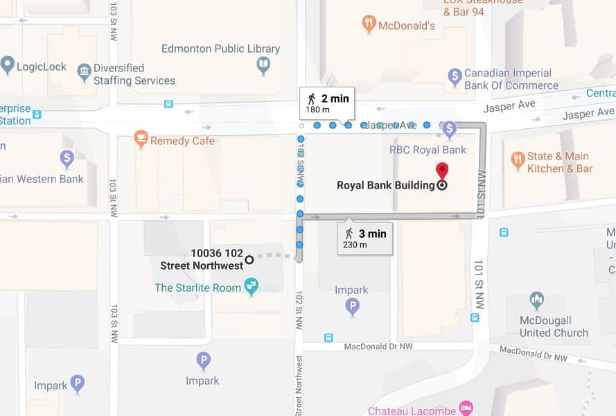 Central Car Park to Royal Bank Building Edmonton Parking Guide