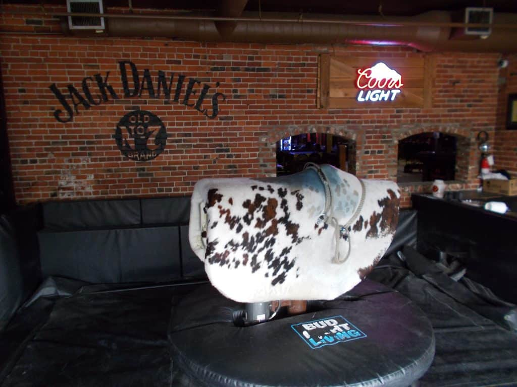 Mechanical bull riding at Cook County Saloon Edmonton
