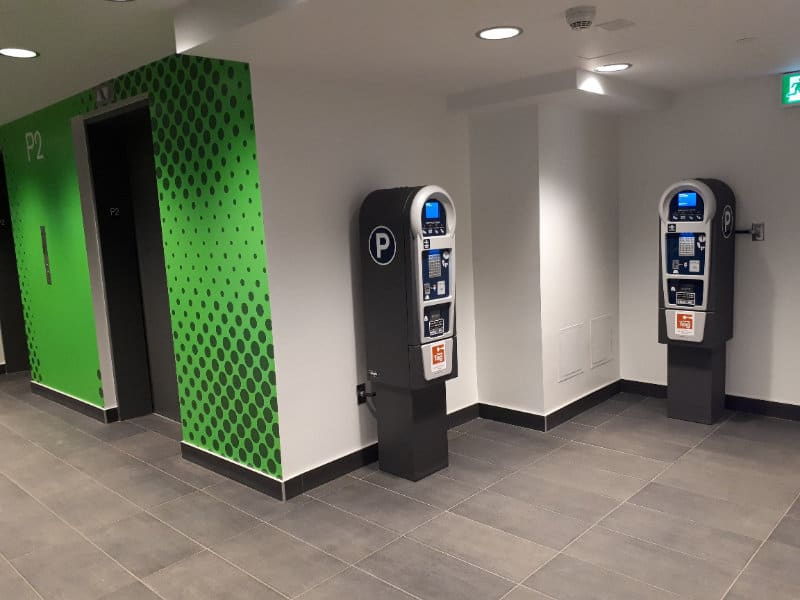 Ice District Central Parkade - P2 Pay Station Lobby by Edmonton Parking Guide