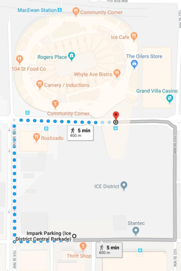 Ice District Central Parkade Walk to Rogers Place by Edmonton Parking Guide
