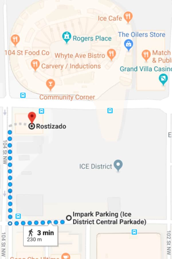 Ice District Central Parkade to Rostizado by Edmonton Parking Guide