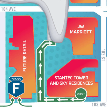 Rogers Place Portal Entrance from Stantec Tower by Edmonton Parking Guide