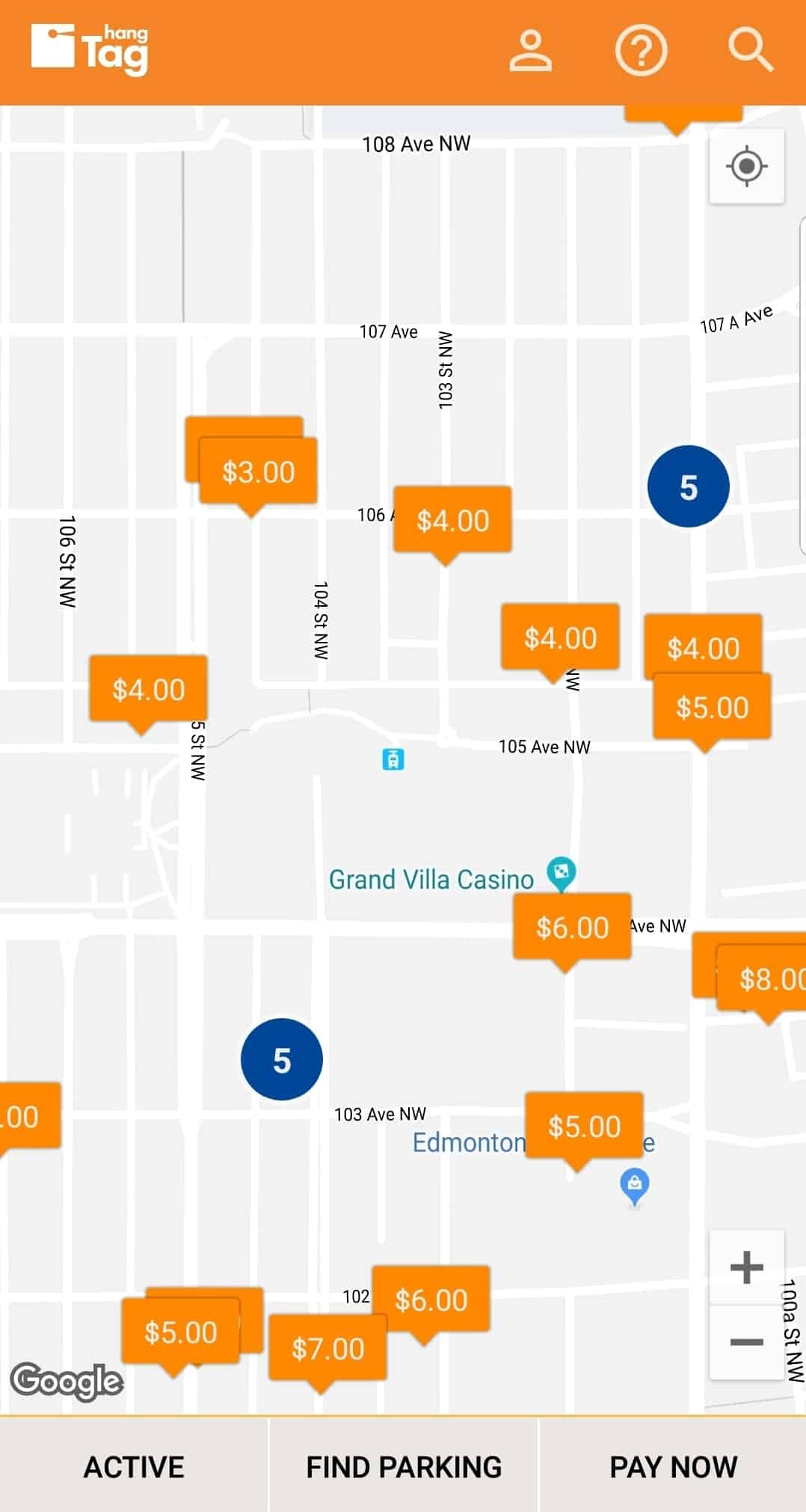 hangTag app screen of Rogers Place locations by Edmonton Parking Guide