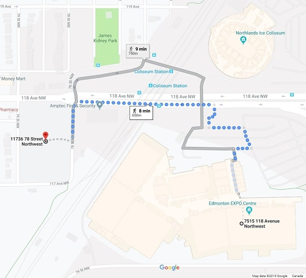 8 Minute Walk from Impark Lot 39 to K-Days Grounds by Edmonton Parking Guide