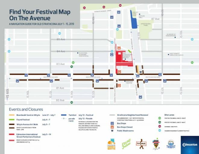 Old Strathcona 2019 Festival Map at Edmonton Parking Guide