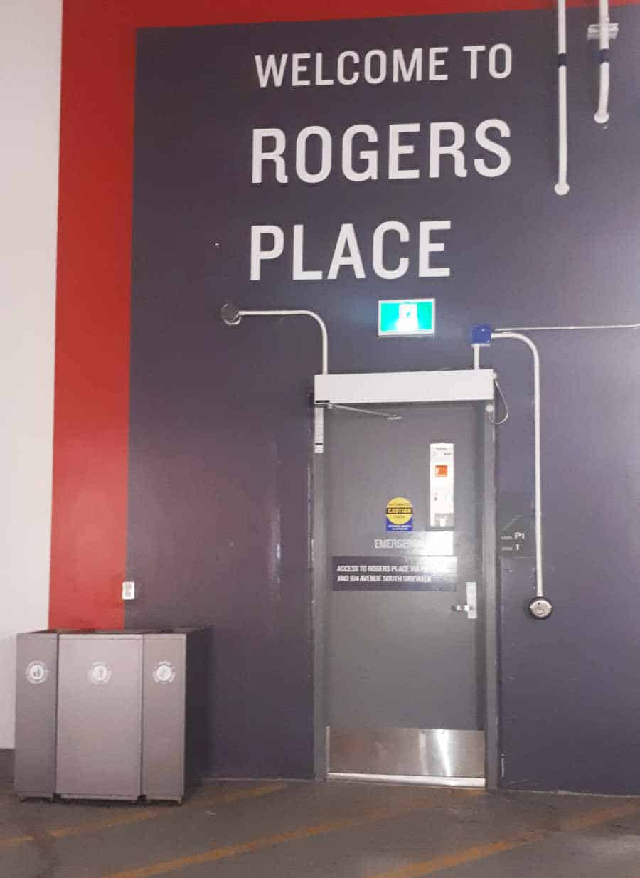 Rogers Place Pedestrian Door on P1 - Ice District Central Parkade by Edmonton Parking Guide