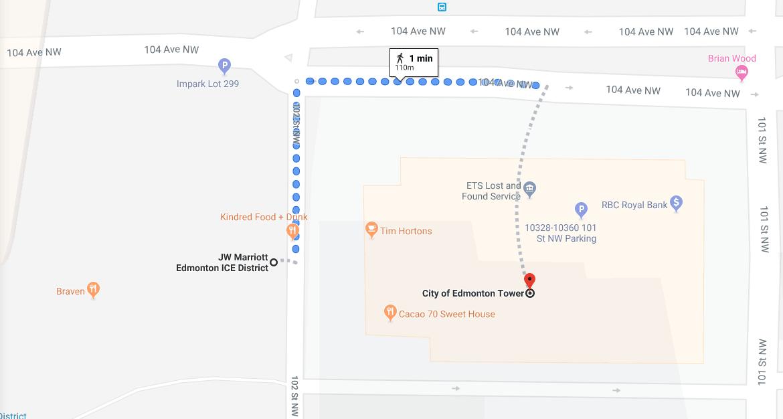 Walking from Edmonton Tower to JW Marriott Edmonton