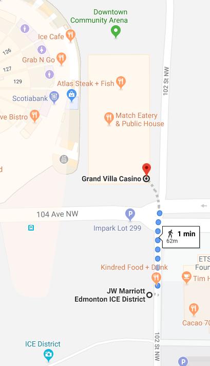 Walking from Grand Villa Casino to JW Marriott Edmonton