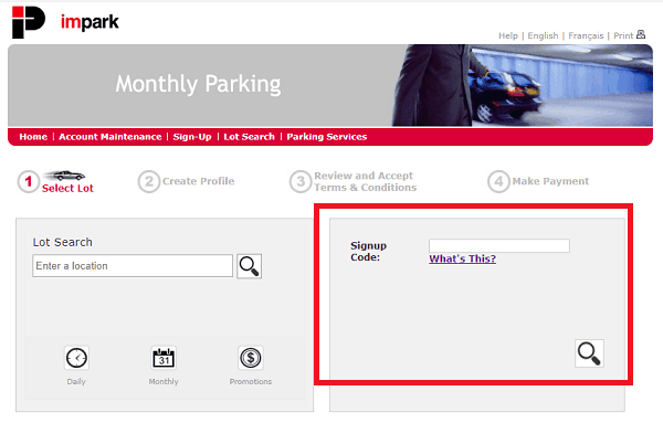 Sign up Code - Step 1 - Impark Monthly Parking Discount