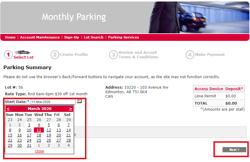 Sign up Code - Step 3 - Impark Monthly Parking Discount