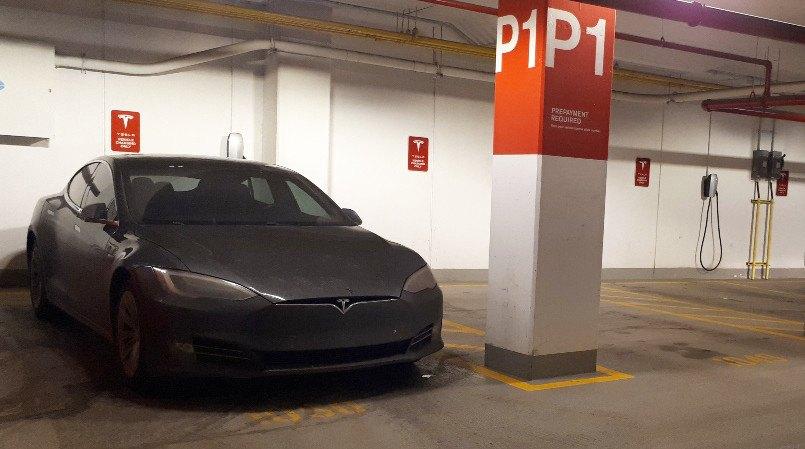 Tesla EV Charging Stalls at Edmonton Tower - P1 - by Edmonton Parking Guide